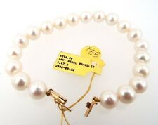 $294 MSRP 8 Inch Long 9mm Wide Freshwater Pearl Bracelet 14k Yellow Gold Clasp
