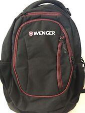 Wenger Black Three Pocket Backpack with Maroon Outline NWOT