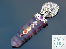 Multi Fluorite 7 Chakra Flat Natural Gemstone Pendant Necklace 50cm Healing