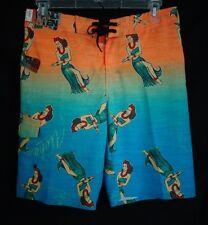NWT Hang Ten Orange Hawaiian Hula Dance Girls Cargo Board Shorts Men's  30
