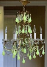 Antique French Crystal Beaded Italian Green Opaline Tole Chandelier Murano