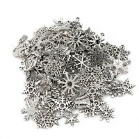 50g Tibetan Silver Mixed Snowflake Christmas Pattern Xmas Charms Pendants Lots