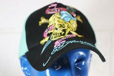 Ed Hardy By Christian Audigier Kids One Size Hat Americana Skull Dagger Aqua A2