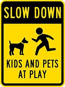 Slow Down - Kids and Pets at Play with Graphic, 8x12 Black on Yellow Metal Sign