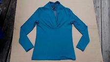 KENNETH COLE REACTION BLOUSE TEAL L/S CROSS OVER TOP KCR158 SIZE S
