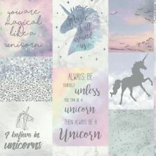 ARTHOUSE BELIEVE IN UNICORNS GLITTER METALLIC WALLPAPER 698300 KIDS GIRLS MULTI