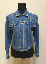 LIZ CLAIBORNE PETITE SIZE SP SMALL PETITE WOMENS EMBROIDERED DENIM JACKET