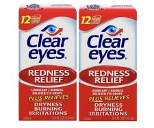 Clear Eyes Lubricant /Redness Relief Eye Drops Drying, Burning 15ml x 2 Bottles