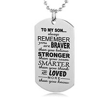 Men TO MY SON Military Army Style Dog Tag Stainless Steel Pendant Necklace Cheap