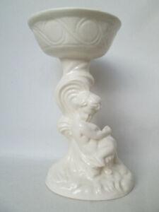 Lovely Cream Glazed Ceramic Tall Tea Light Candle Holder Classical Cherub Design