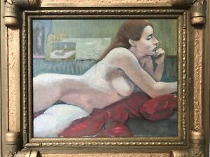 🔥 Antique Mid Century Modern Beautiful Oil Painting Reclining Nude - WRAY