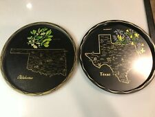 Oklahoma and Texas State Map City Metal Tray Platter Serve Black Vintage