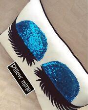 Blue Sequin Eyelash Pillow Decorative Sleeping Beauty Handmade