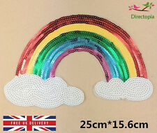 Sew On Sequins Applique Rainbow Patch Sparkly Customise Craft Clothing