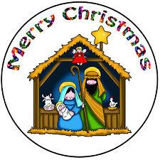 "Christmas Cake Topper Nativity Scene - Precut Round 8"" (20cm) Icing Decoration"