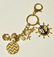 Beautiful Goldtone Nautical Key Ring with Clip - Faux Pearl, Charms