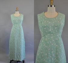 Vintage 1960s Brocade Mint Maxi Sleeveless Dress. Paisley Pattern. Long Dress.