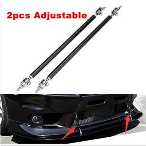 2x Adjustable Front Bumper Lip Splitter Rod Strut Tie Bar Support Universal Fit