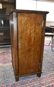 Antique Tiger Stripe Oak Music Cabinet