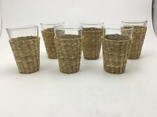 12oz Set of 6 Juice Glasses with Braided Straw Sleeve **NEW MINT CONDITION*