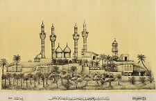 BAGDAD MOSCHEE Ansicht große Lithographie ORIGINAL 1898