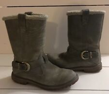 timberland buckle Gray suede boots fur lining Size 7 Eu 40