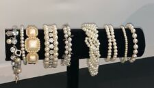 Mixed Lot of 9 Faux Pearl Bracelets Costume Jewelry