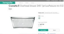 Hansgrohe 26722000 Crometta E 240 Rain Shower Head Chrome LP. Brand new!