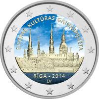 2 Euro Gedenkmünze Lettland 2014 coloriert Farbe / Farbmünze RIGA