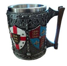 English Coat of Arms Shields Crusader Medieval Drinking Tankard Mug Gothic Gift
