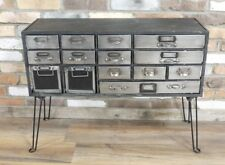 Industrial steampunk style cabinet with drawers, metal drawers vintage style