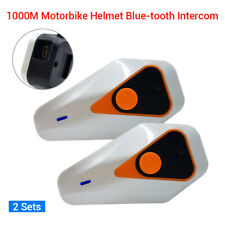 2Pcs 1KM BT-3.0 CASCO DE MOTO INTERCOMUNICADOR Interfono para la Radio FM + AURICULARES AURICULAR
