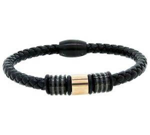Designer Stainless Steel Leather Rose Bead Bracelet 634/7372  RRP £34.99