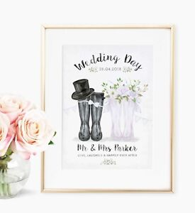 Personalised Wedding Day Mr & Mrs Welly Boot Picture Print WallArt Gift UNFRAMED