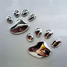 Car Sticker 3D Dog Bear Footprints Chrome Badge Emblem Decal 1 Pair UK STOCK