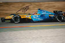Fernando Alonso firmado 12x8, F1 Renault RS25. prueba de pre-temporada Barcelona 2005