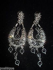 Chandelier Dangle Earrings Genuine Rhinestone Crystal Statement Onyx Shiny CHIC