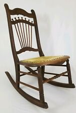 Antique Victorian stick & ball Cane Arts And Crafts Oak Rocking Chair Rocker
