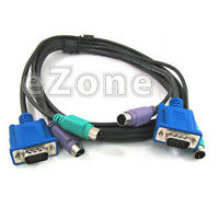6Ft 3-in-1 KVM Switch Cable w/ 6 pin PS/2 Keyboard Mouse & HD15 VGA Male to Male