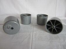 4x Möbelfüsse - Kunststoff - Rund - Grau - groß - Höhe 7,2 cm