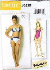 1 or 2 Pc Swimsuit Bikini High Waist Brief Color Block Sew Pattern 4 6 8 10 12