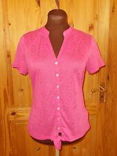 PER UNA M&S hot pink burnout semi-sheer short sleeve blouse shirt tunic top 8 36