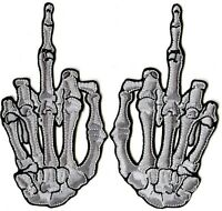 Middle Finger Patches | 3D Skeleton Hand Patch | Embroidered Iron On | Small 5""
