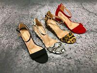 women block heel dress sandal anklestrap red snakeskin black lepoard