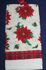 CHRISTMAS KITCHEN DISH TOWEL POINSETTIAS ACORNS LIGHT GOLD 100% COTTON