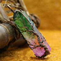 Rainbow Crystal Tree Of Life Chakra Pendant Silver Wire Wrap Gemstone Necklace Q
