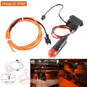 Orange Car LED EL Wire Light Strip Interior Atmosphere Glow Neon Lamp Decor 12V
