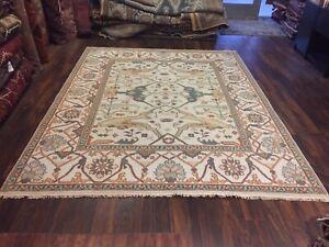 "On Sale Genuine Hand Knotted Indo Oushak Geometric Area Rug Carpet 8'x10'2"",#78"
