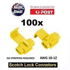 100PCS WIRE CONNECTOR SCOTCH LOCK QUICK SPLICE Yellow WIRE TERMINALS AUTO CAR