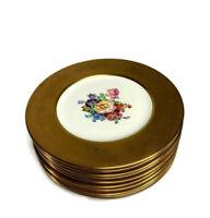 Antique Gold Encrusted Porcelain Dinner Plates Floral Center NYC Set of 10